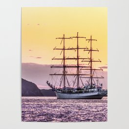 Frigate at sunset Poster