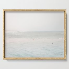 At the Seaside (three) - minimal beach series by Ingrid Beddoes Serving Tray