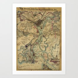 Vintage Savannah Georgia Civil War Map (1864) Art Print