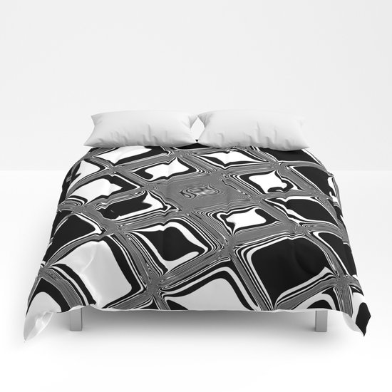 Black and white abstract design with fancy squared patterns on grey Comforters