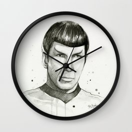 Spock Watercolor Portrait Wall Clock