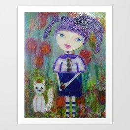 Viola & Lipstick - Whimsies of Light Children Series Art Print