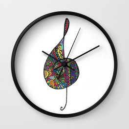 Treble clef color Wall Clock