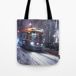 King St Streetcar in the snow - Toronto Winter 2016 Tote Bag