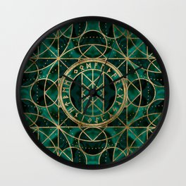 Web of Wyrd The Matrix of Fate - Gold and Malachite Wall Clock