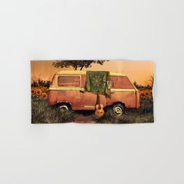 summer sunset landscape with skull and guitar Hand & Bath Towel