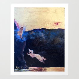 Two Desert Foxes at Sunrise Art Print