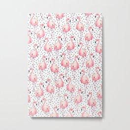 Black and white polka dots and pink flamingos pattern Metal Print
