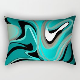 Liquify 2 - Brown, Turquoise, Teal, Black, White Rectangular Pillow