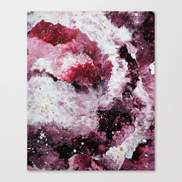 Maroon and White Abstract Painting Canvas Print