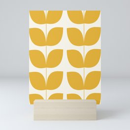 Mid Century Modern Leaves Yellow #society6 #buyart  Mini Art Print