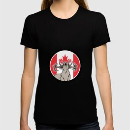 Canadian Stag Deer Canada Flag Icon T-shirt