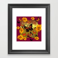 Abstracted  Burgundy Sunflowers & Orange Monarch Butterflies Framed Art Print