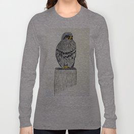Fine Art New Zealand  Falcon in Graphite and Charcoal on 300 gsm  Long Sleeve T-shirt