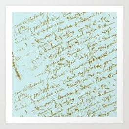 French Script on Paris Blue Art Print