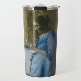 Letter reading woman - Johannes Vermeer (ca. 1663) Travel Mug