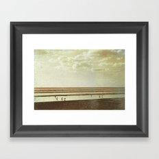 Beach #1 - Lonely beach with seagulls Framed Art Print