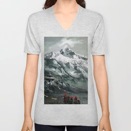 Panoramic View Of Mountain Everest Unisex V-Neck