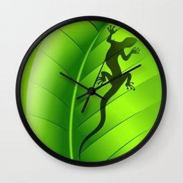 Lizard Gecko Shape on Green Leaf Wall Clock