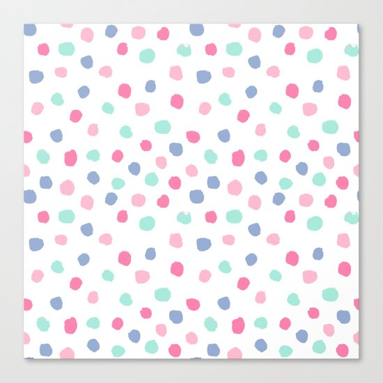 Pastel painted dots pattern minimal mint and pink nursery home decor patterns Canvas Print
