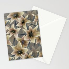 Lily. Grey beige floral pattern . Stationery Cards