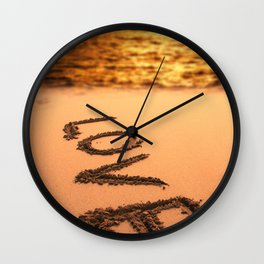 Love Written in the Sand Wall Clock