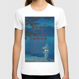 Kawase Hasui, Miyajima Shrine Torii At Night - Vintage Japanese Woodblock Print Art T-shirt