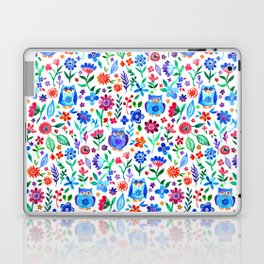 Little Owls and Flowers on White Laptop & iPad Skin