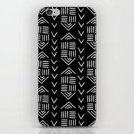 mudcloth 6 minimal textured black and white pattern home decor minimalist iPhone Skin