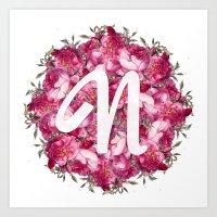 N Floral  Art Print