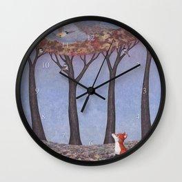 fox and chickadees Wall Clock