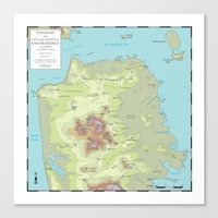 san francisco map Canvas Prints featuring San Francisco Topography Map by Urban Life Signs