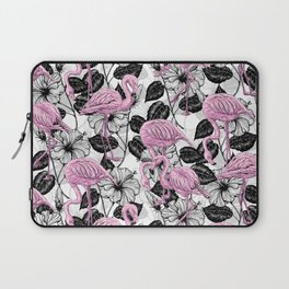 Flamingos and hibiscus flowers Laptop Sleeve