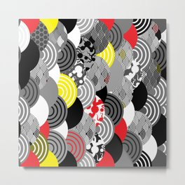 Nature background with japanese sakura flower, Cherry, wave circle Black gray white Red Yellow Metal Print