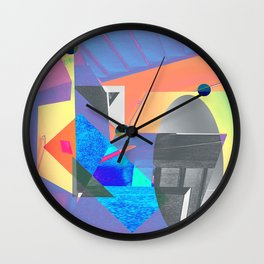 Bright Colored Abstract Digital Photography Collage Wall Clock