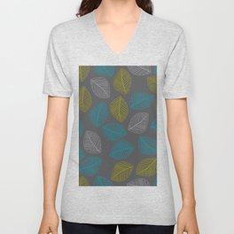 Mid Century Modern Falling Leaves Turquoise Chartreuse Gray Unisex V-Neck
