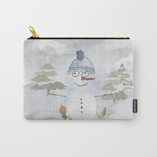 Winter Wonderland- Funny Snowman and friends - Watercolor illustration Carry-All Pouch