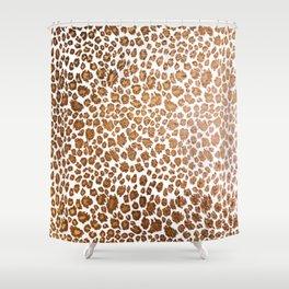 Leopard Spots, Faux Metallic Shower Curtain