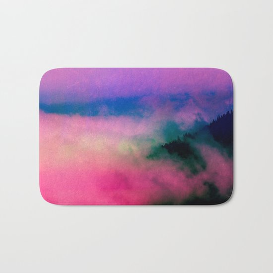 Fog Forest Mountain - Pink Rainbow Northern Lights Bath Mat