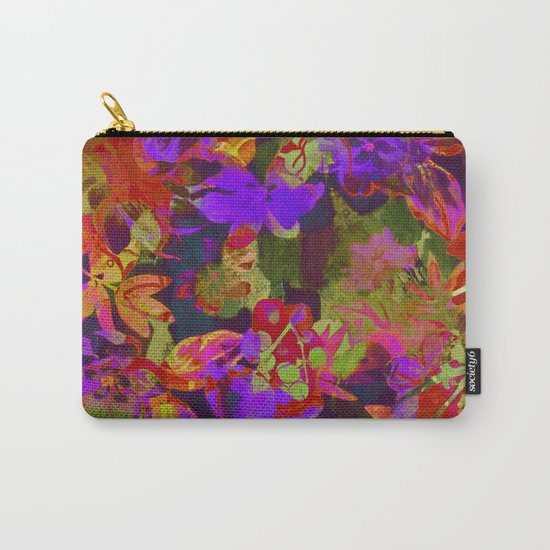 colorful floral with purple accent Carry-All Pouch