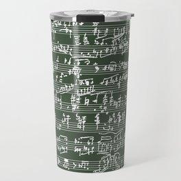 Hand Written Sheet Music // Timber Green Travel Mug