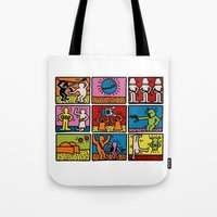 keith haring Tote Bags featuring Haring - étoiles W. by Krikoui