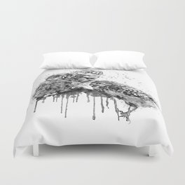 Three Cute Monochrome Owls Duvet Cover