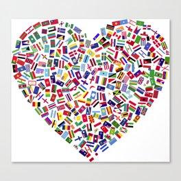 Heart flags countries Canvas Print