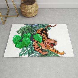Stylish colorful poster with tropical wild animal. Amazing big asian tiger. Rug