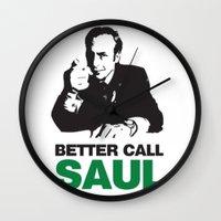 better call saul Wall Clocks featuring Better Call Saul by Harry Martin