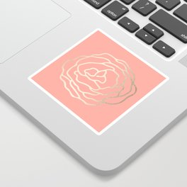 Flower in White Gold Sands on Salmon Pink Sticker