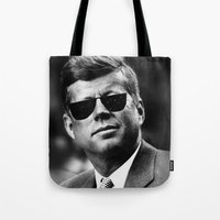 jfk Tote Bags featuring BE COOL - JFK by Johnny Late Night Designs ॐ