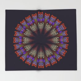 Floral mandala with tribal patterns in the petals Throw Blanket