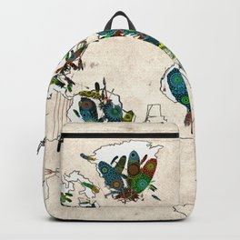 world map feathers mandala 3 Backpack